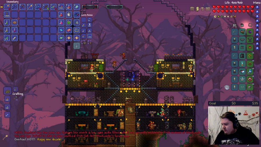 Modded Terraria (Calamity - Overhaul - Spirit - Magic storage - boss checklist) || !schedule - !halcyon