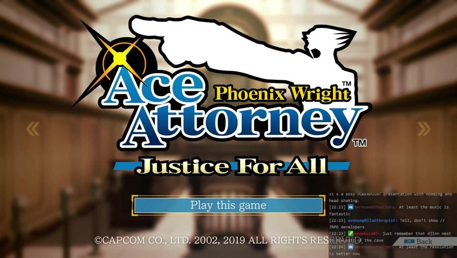 Phoenix Wright 1: Starting with game 2